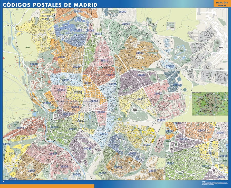 mapa madrid códigos postales