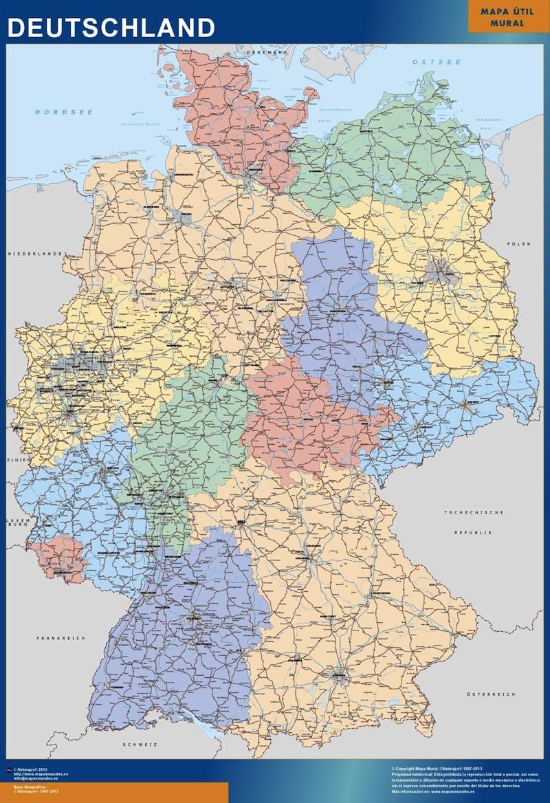 Mapa grande Alemania político