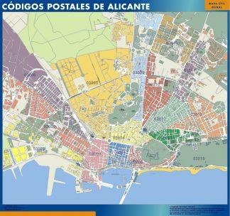 Alicante códigos postales enmarcado plastificado