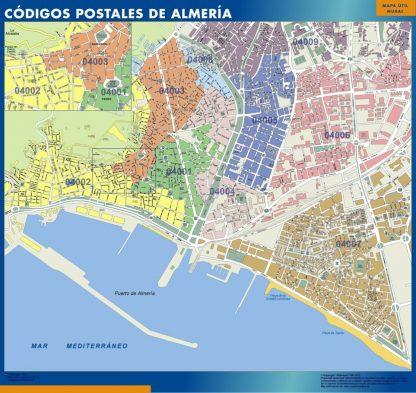 Almeria códigos postales enmarcado plastificado