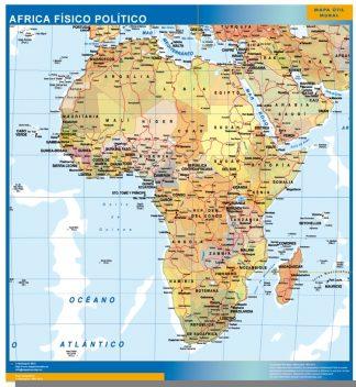 Mapa Africa enmarcado plastificado