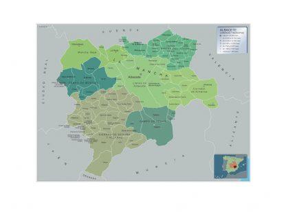 Mapa Albacete por municipios enmarcado plastificado