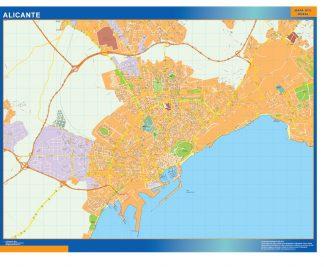 Mapa Alicante callejero enmarcado plastificado