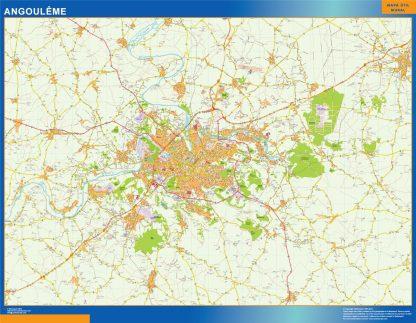 Mapa Angouleme en Francia enmarcado plastificado