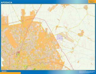 Mapa Apodaca en Mexico enmarcado plastificado