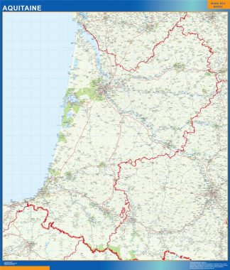 Mapa Aquitaine en Francia enmarcado plastificado