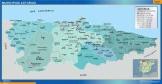 Mapa Asturias por municipios enmarcado plastificado