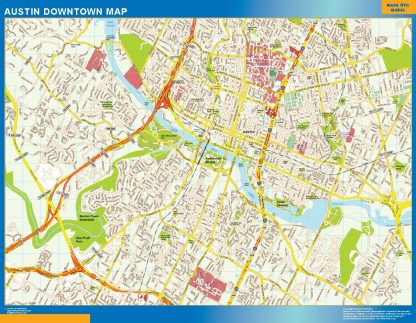 Mapa Austin downtown enmarcado plastificado