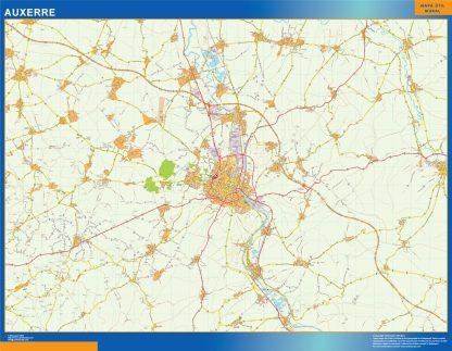 Mapa Auxerre en Francia enmarcado plastificado