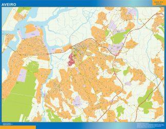 Mapa Aveiro en Portugal enmarcado plastificado