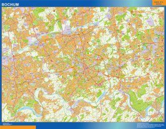 Mapa Bochum en Alemania enmarcado plastificado