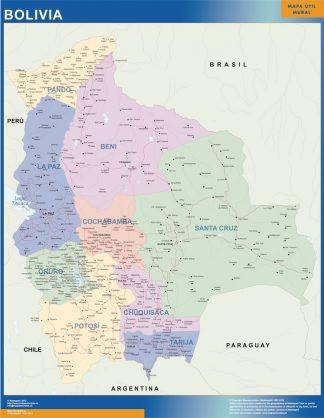 Mapa Bolivia enmarcado plastificado