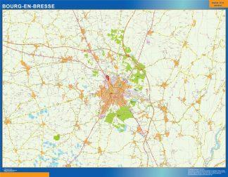 Mapa Bourg En Bresse en Francia enmarcado plastificado