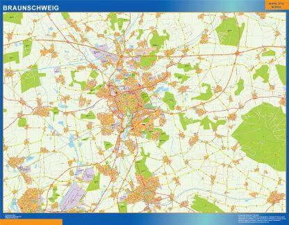 Mapa Braunschweig en Alemania enmarcado plastificado