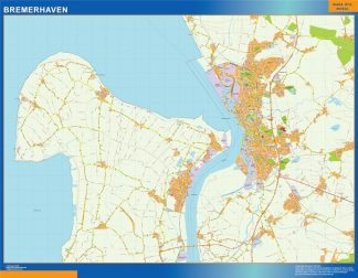 Mapa Bremerhaven en Alemania enmarcado plastificado