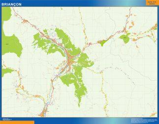 Mapa Briancon en Francia enmarcado plastificado