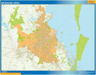 Mapa Brisbane Area Australia enmarcado plastificado