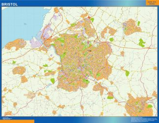 Mapa Bristol enmarcado plastificado