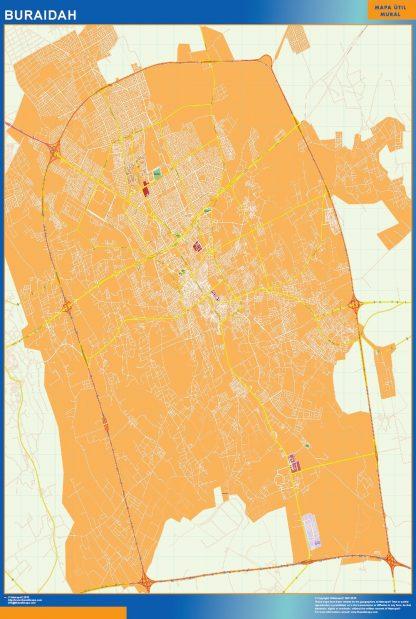 Mapa Buraidah en Arabia Saudita enmarcado plastificado