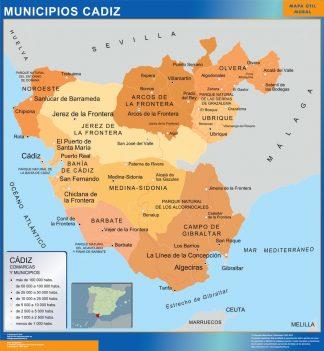 Mapa Cadiz por municipios enmarcado plastificado