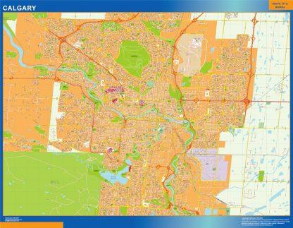 Mapa Calgary en Canada enmarcado plastificado