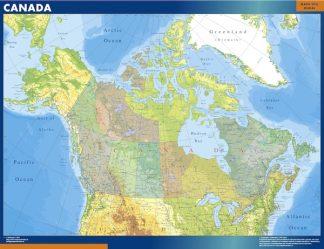 Mapa Canada enmarcado plastificado