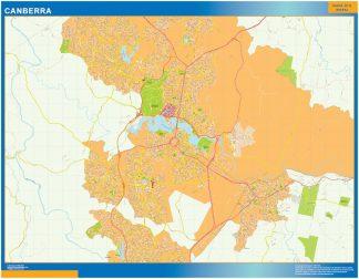 Mapa Canberra Australia enmarcado plastificado