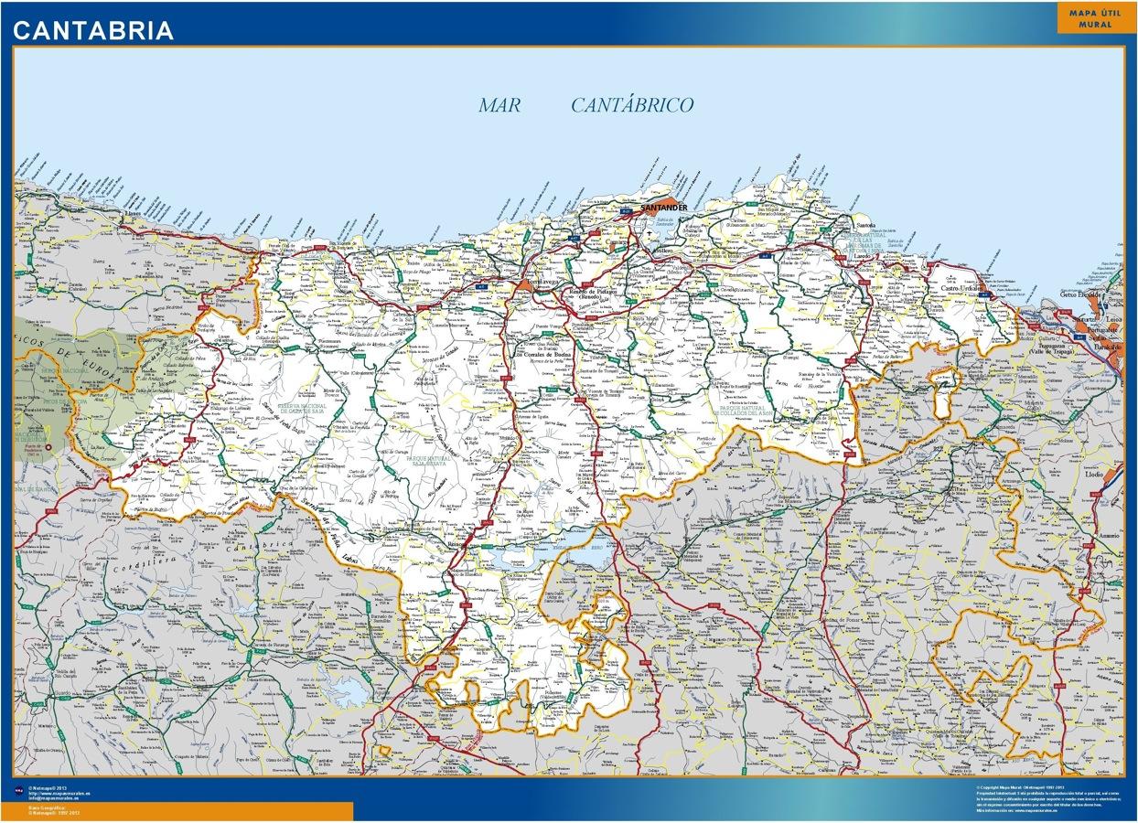 Mapa Cantabria Carreteras Grande Mapas Grandes De Pared