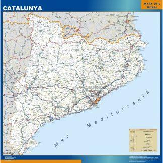Mapa Cataluña carreteras enmarcado plastificado