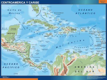 Mapa Centroamerica enmarcado plastificado
