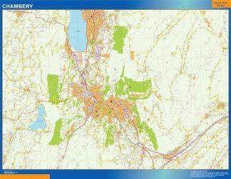 Mapa Chambery en Francia enmarcado plastificado