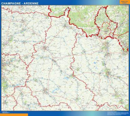 Mapa Champagne Ardenne en Francia enmarcado plastificado