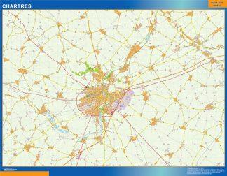 Mapa Chartres en Francia enmarcado plastificado