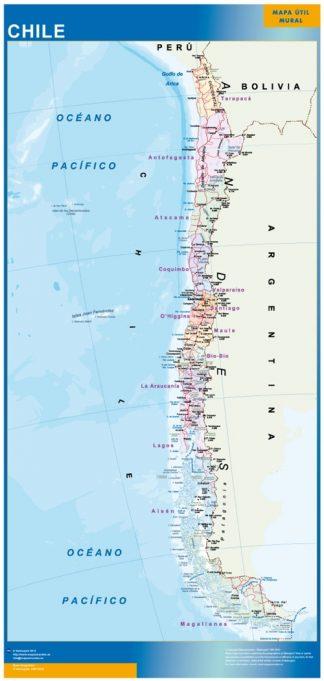 Mapa Chile enmarcado plastificado