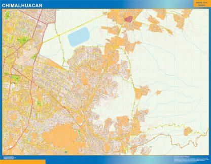 Mapa Chimalhuacan en Mexico enmarcado plastificado