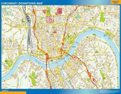 Mapa Cincinnati downtown enmarcado plastificado
