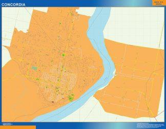 Mapa Concordia en Argentina enmarcado plastificado