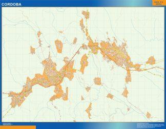 Mapa Cordoba en Mexico enmarcado plastificado