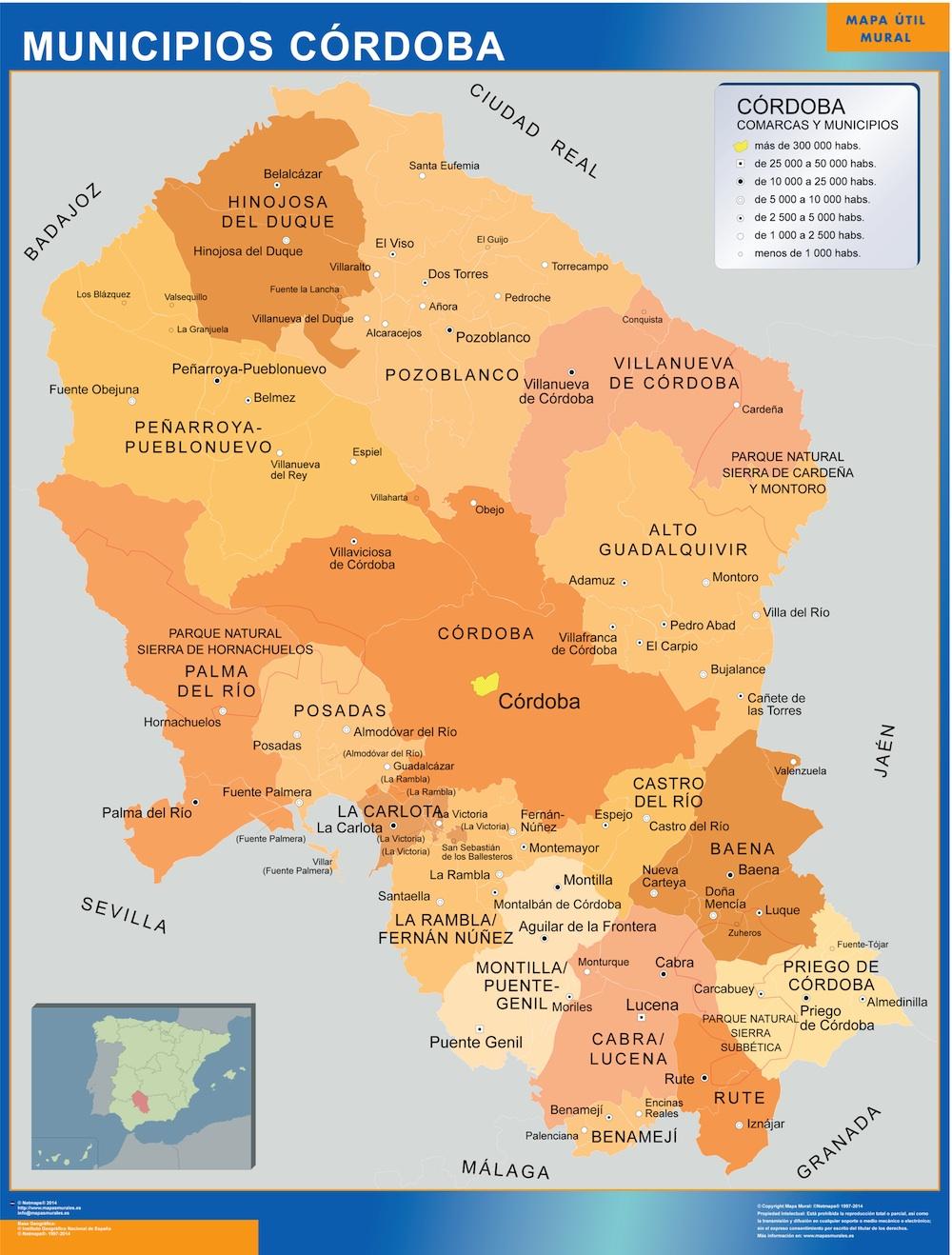 Mapa Cordoba por municipios grande | | Mapas grandes de pared