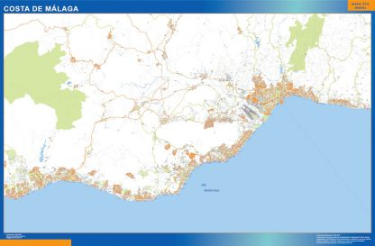 Mapa Costa Malaga enmarcado plastificado