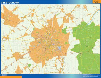 Mapa Czestochowa Polonia enmarcado plastificado