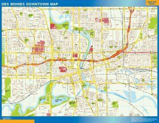 Mapa Des Moines downtown enmarcado plastificado