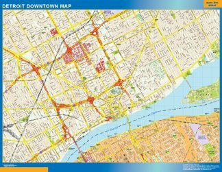 Mapa Detroit downtown enmarcado plastificado