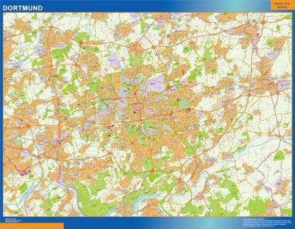 Mapa Dortmund en Alemania enmarcado plastificado