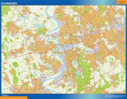 Mapa Duisburg en Alemania enmarcado plastificado
