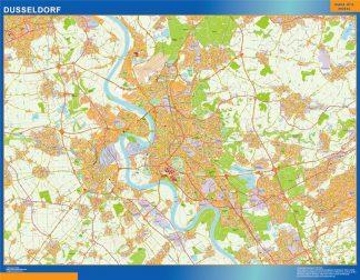 Mapa Dusseldorf en Alemania enmarcado plastificado