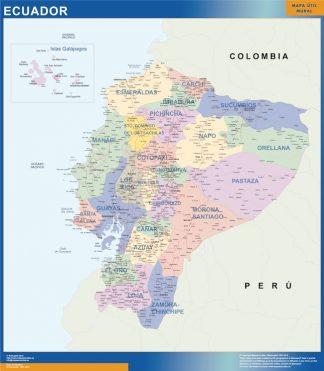 Mapa Ecuador enmarcado plastificado