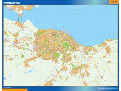 Mapa Edinburgh enmarcado plastificado
