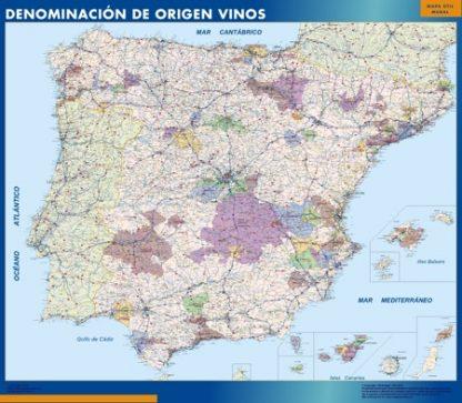 Mapa Espana Denominacion Origen Vino enmarcado plastificado