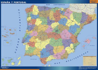 Mapa Espana Provincial enmarcado plastificado